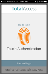 Logging in with Touch Authentication